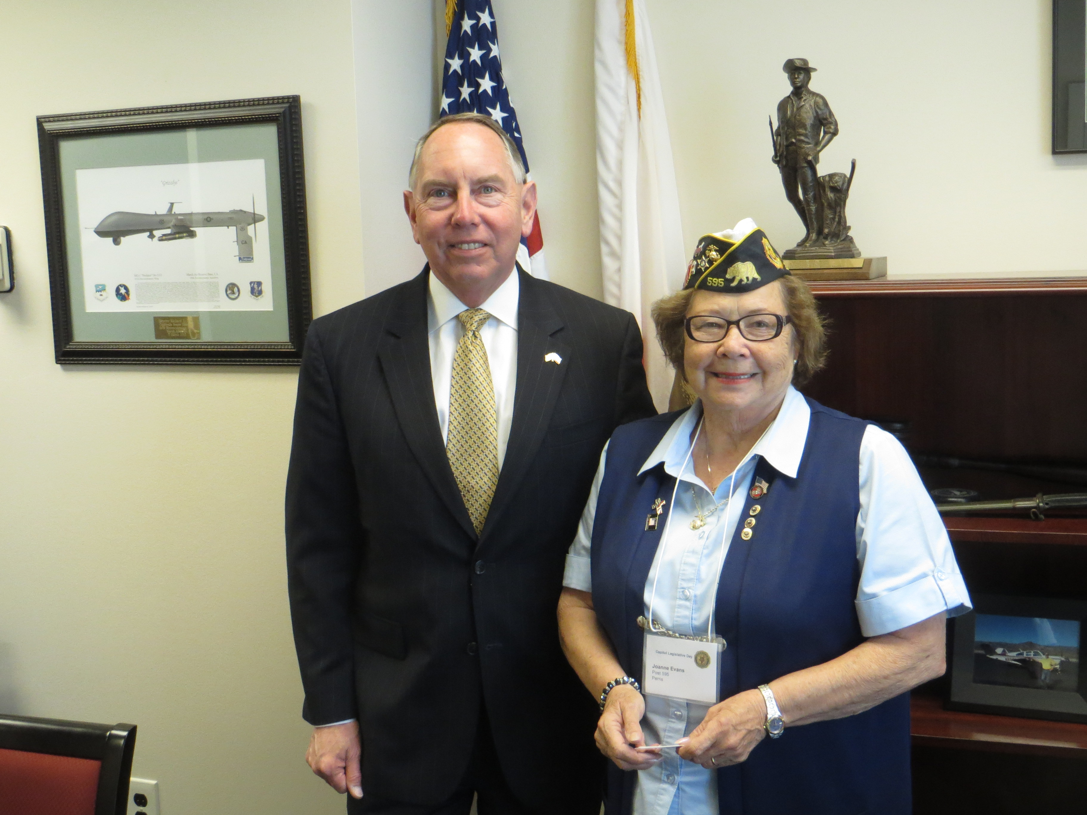 Senator Roth met with former Perris City Councilmember and USMC Veteran Joanne Evans during American Legion legislative Action Day on Wednesday May 1, 2013 in Sacramento